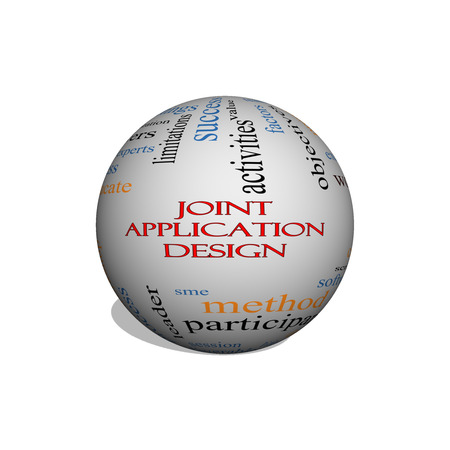 Joint Application 3D Illustration sphere Word Cloud Concept with great terms such as workflows, meetings, projects and more. Stock Photo