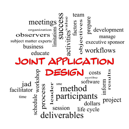 deliverables: Joint Application Word Cloud Concept in red caps with great terms such as workflows, meetings, projects and more.