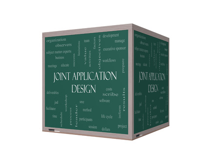 subject matter: Joint Application 3D Illustration Word Cloud Concept on a Blackboard with great terms such as workflows, meetings, projects and more.