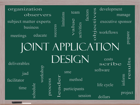 deliverables: Joint Application Word Cloud Concept on a Blackboard with great terms such as workflows, meetings, projects and more.