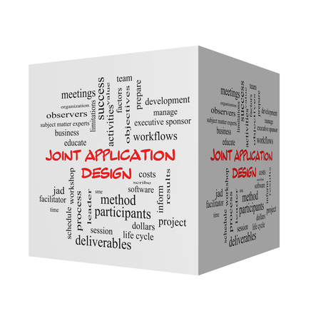 deliverables: Joint Application 3D Illustration Word Cloud Concept in red caps with great terms such as workflows, meetings, projects and more. Stock Photo