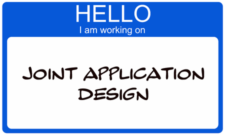 Hello I am working on Joint Application Design blue name tag sticker making a great concept. Imagens