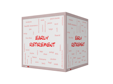 Early Retirement Word Cloud Concept on a 3D Whiteboard with great terms such as investments, budget, downsize and more.