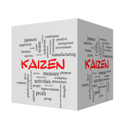 kaizen: Kaizen 3D Word Cloud Concept in red caps with great terms such as improvement, positive, success and more. Stock Photo