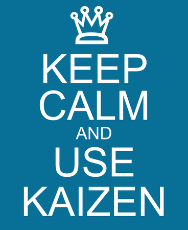 kaizen: Keep Calm and use Kaizen blue sign with a crown making a great concept