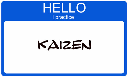 Hello I pracice Kaizen blue name tag making a great concept