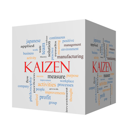 Kaizen 3D cube Word Cloud Concept with great terms such as improvement, positive, success and more.