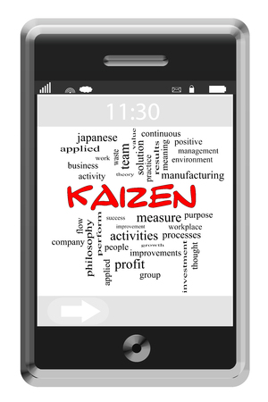 kaizen: Kaizen Word Cloud Concept on a Touchscreen Phone with great terms such as performance, improvement, philosophy and more.