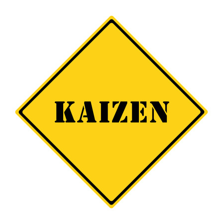A yellow and black diamond shaped road sign with the word KAIZEN making a great concept. Imagens