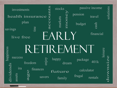 Early Retirement Word Cloud Concept on a Blackboard with great terms such as investments, budget, downsize and more.