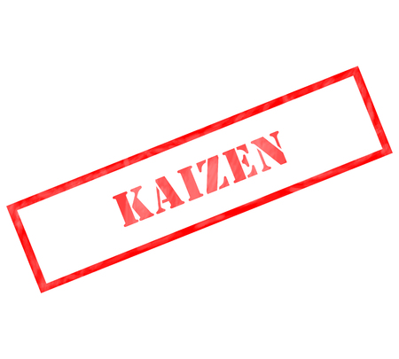 Kaizen red grunge rectangle stamp making a great concept
