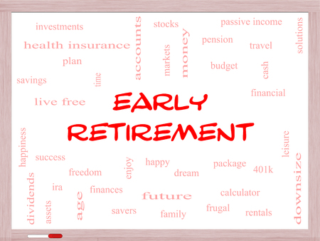 Early Retirement Word Cloud Concept on a Whiteboard with great terms such as investments, budget, downsize and more.