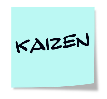 kaizen: Kaizen written on a blue sticky note making a great concept.