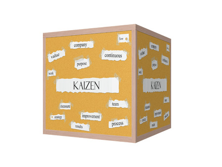 Kaizen 3D Corkboard Word Concept with great terms such as value, purpose, flow and more.