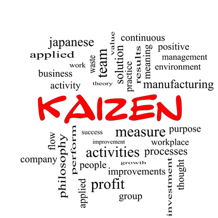 kaizen: Kaizen Word Cloud Concept in red caps with great terms such as improvement, positive, success and more.
