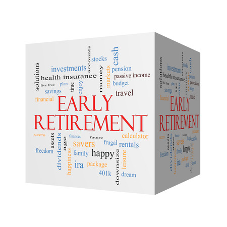 Early Retirement 3D cube Word Cloud Concept with great terms such as investments, budget, downsize and more. Imagens