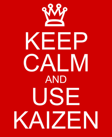 kaizen: Keep Calm and use Kaizen red sign with a crown making a great concept Stock Photo