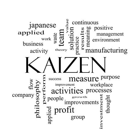 Kaizen Word Cloud Concept in black and white with great terms such as improvement, positive, success and more. Imagens