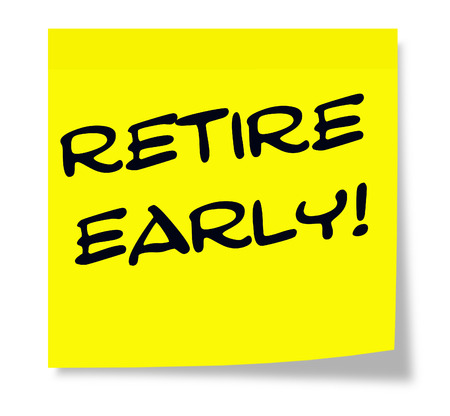 retire: Retire, Early written on a yellow sticky note making a great concept. Stock Photo