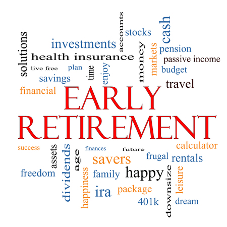downsize: Early Retirement Word Cloud Concept with great terms such as investments, budget, downsize and more.