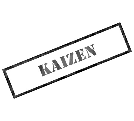 Kaizen black grunge rectangle stamp making a great concept Imagens