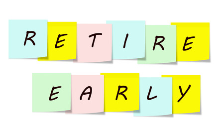 Retire Early written on a sticky notes making a great concept. Imagens
