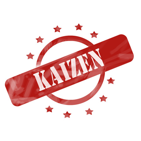 A red ink weathered roughed up circle and stars stamp design with the word Kaizen on it making a great concept.