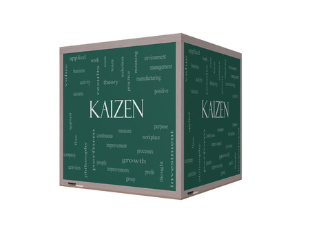 kaizen: Kaizen Word Cloud Concept on a 3D Blackboard with great terms such as improvement, positive, success and more. Stock Photo