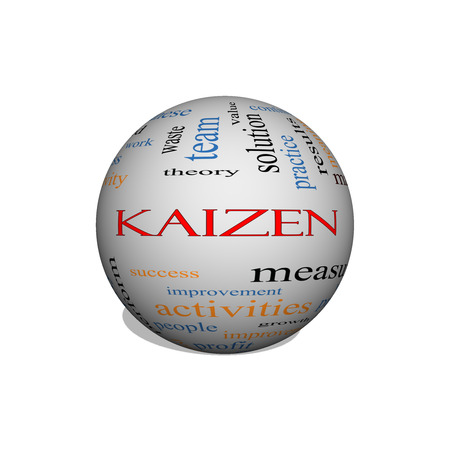 kaizen: Kaizen 3D sphere Word Cloud Concept with great terms such as improvement, positive, success and more. Stock Photo