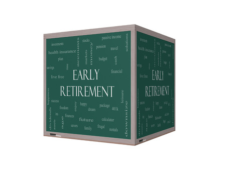 Early Retirement Word Cloud Concept on a 3D Blackboard with great terms such as investments, budget, downsize and more.