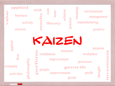 Kaizen Word Cloud Concept on a Whiteboard with great terms such as improvement, positive, success and more.