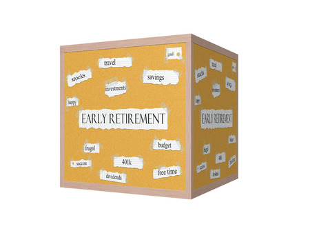 frugal: Early Retirement 3D Corkboard Word Concept with great terms such as travel, savings, budget and more. Stock Photo