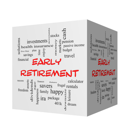 downsize: Early Retirement 3D Word Cloud Concept in red caps with great terms such as investments, budget, downsize and more.