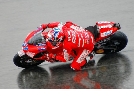 SEPANG, MALAYSIA - OCT 25   Australian Casey Stoner of Ducati Marlboro Team takes a corner during race day of MotoGP in Malaysian Grand Prix on October 25, 2009 in Sepang, Malaysia