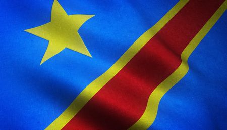 Realistic flag of Democratic Republic of the Congo waving with highly detailed fabric texture.