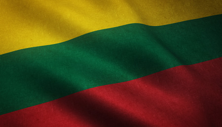Realistic flag of Lithuania waving with highly detailed fabric texture. Stock Photo