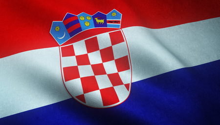 Realistic flag of Croatia waving with highly detailed fabric texture.