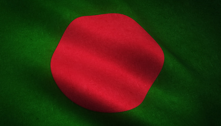 Realistic flag of Bangladesh waving with highly detailed fabric texture.