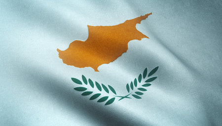 Realistic flag of Cyprus waving with highly detailed fabric texture.