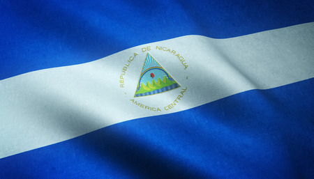 nicaragua: Realistic flag of Nicaragua waving with highly detailed fabric texture.