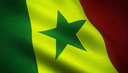 Realistic flag of Senegal waving with highly detailed fabric texture.