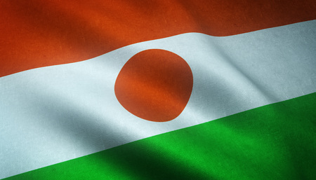 Realistic flag of Niger waving with highly detailed fabric texture.