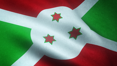 Realistic flag of Burundi waving with highly detailed fabric texture.