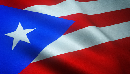 10th: Realistic flag of Puerto Rico waving with highly detailed fabric texture.