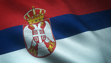 Realistic flag of Serbia waving with highly detailed fabric texture.