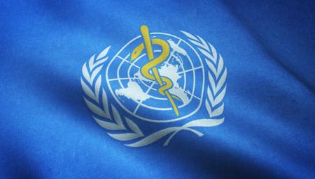 Realistische Flagge der Weltgesundheitsorganisation, die mit in hohem Grade ausführlicher Gewebebeschaffenheit wellenartig bewegt.