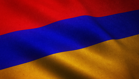 armenian: Realistic flag of Armenia waving with highly detailed fabric texture.