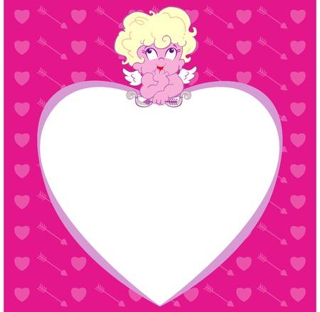 Cartoon Cupid resting on heart Illusztráció
