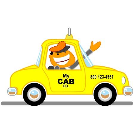 手を振っているタクシー ドライバー