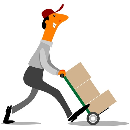factory workers: Delivery Driver delivering boxes Illustration
